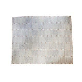 "Striped Gray Kilim Wool Rug - 8'2"" x 10'3"""