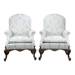George II Style Mahogany Armchairs - A Pair