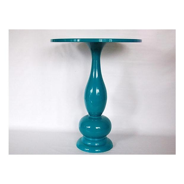 My Finished For Now Kitchen From Kelly Green To Teal: Teal Lacquer Bistro Table
