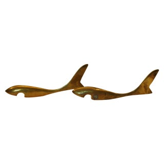 Mid-Century Brass Shark Bottle Openers - Pair