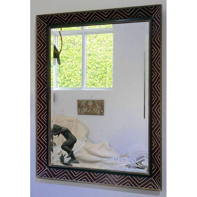 Art Deco Egyptian Revival Style Incised Chevron Pattern Frame Wall Mirror - Image 3 of 6