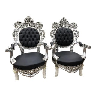 Pair of Italian Baroque Silver & Black Chairs