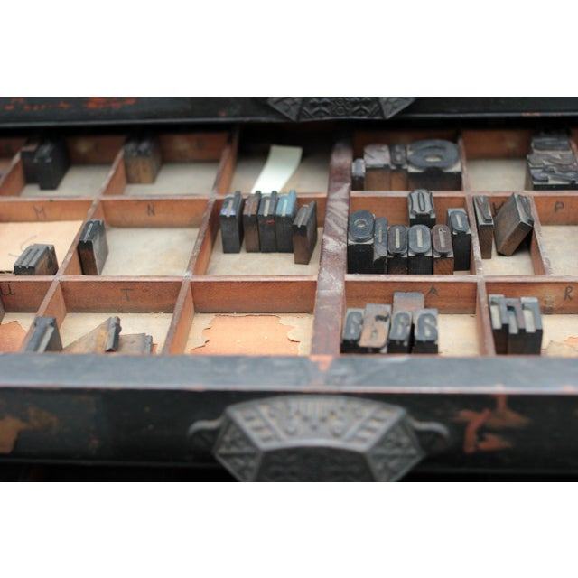 Image of Antique 20-Drawer Letterpress Cabinet & Wood Type