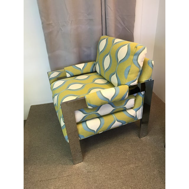 Mid-Century Chrome Milo Baughman Style Chair - Image 5 of 7