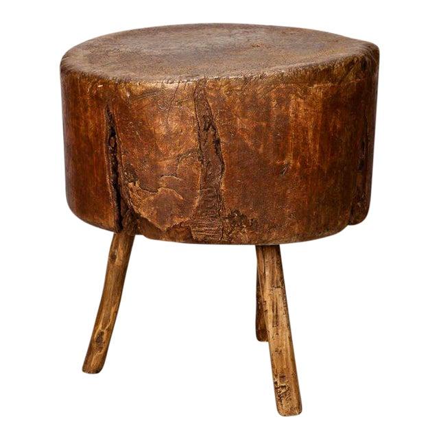 19th Century Primitive Round Butcher Block Table - Image 1 of 8