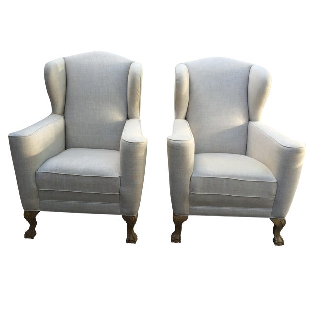 Restoration Hardware Linen Club Wing Chairs - Pair - Image 1 of 6