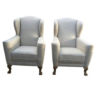 Large Linen Club Wing Chairs - Pair