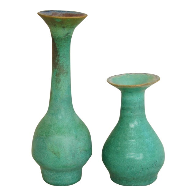 Mid-Century Studio Art Green Pottery Bud Vases - Set of 2 - Image 1 of 8