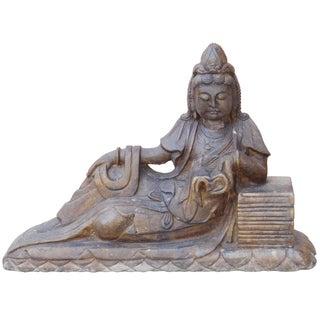 Chinese Stone Reclining Kwan Yin Statue