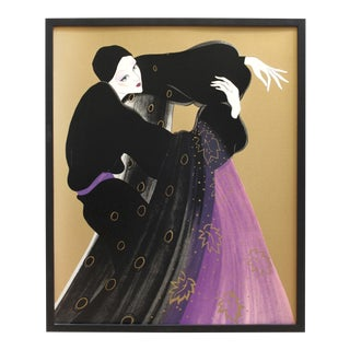 Weimar Deco Style Women Illuminated Gold Painting on Paper