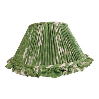 Vintage Ikat Linen Custom Green and White Lamp Shade