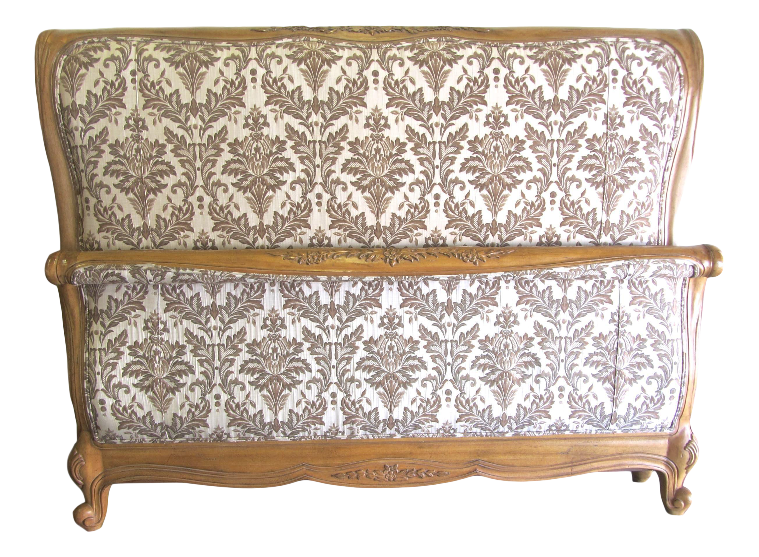 cal king carved century bed with jacquard upholstery