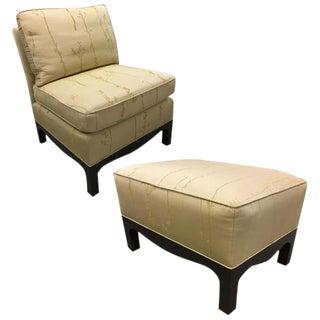 Beige Silk Chair & Ottoman
