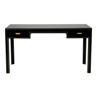 Pierre Vandel Black Lacquered and Brass Desk