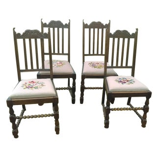 Carved Wood Needlepoint Dining Chairs - Set of 4