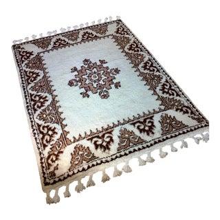Mid-Century Vintage Moroccan Beni Ourain Azilal Wool Shag Rug - 4′11″ × 6′11″