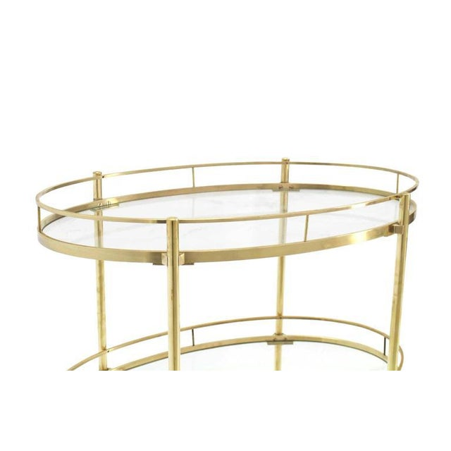 Three-Tier Brass Oval Tea Serving Cart - Image 5 of 8