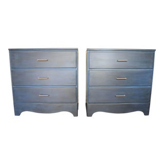 Navy Blue & Silver Nightstands - A Pair
