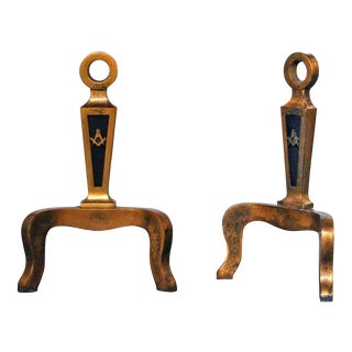 20th C. Brass Masonic Andirons - A Pair