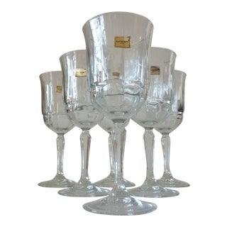 Pressed Glass Wine Goblets- Set of 6