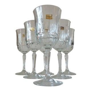 Pressed Glass Wine Goblets- Set of 6
