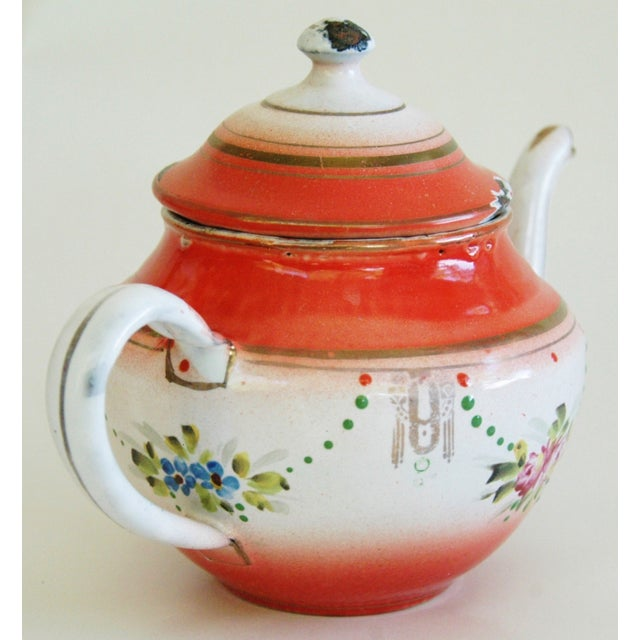 1930s French Enamelware Hand-Painted Teapot - Image 6 of 7