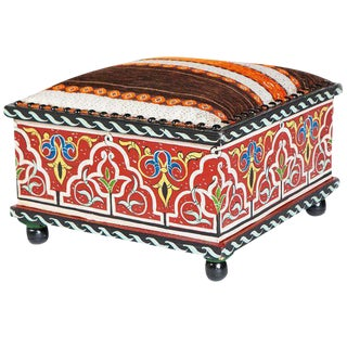 Moucharabieh Tabouret Square Painted Ottoman
