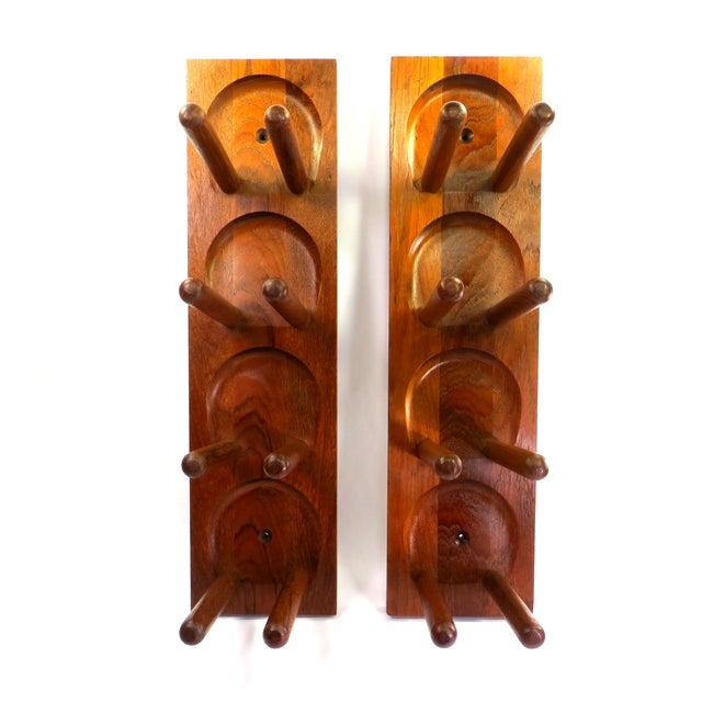 Image of Mid Century Modern Teak Wood Wine Racks - A Pair