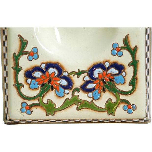1950s French Enameled Porcelain Ashtray Catchall - Image 4 of 6