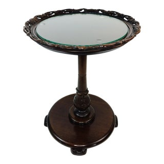 Vintage Glass Top Lattice Pie Crust Side Table