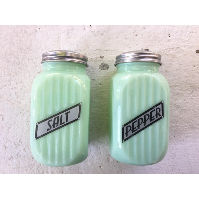 Image of Art Deco Jadeite Salt and Pepper Shaker Set