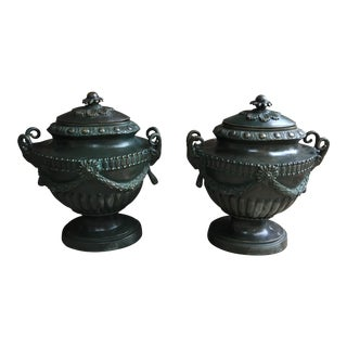 French Brass Urns - A Pair