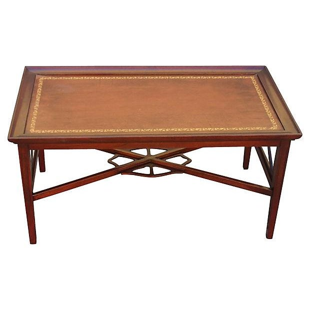 Rectangular leather top coffee table chairish Square leather coffee table