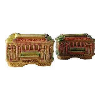 San Fransisco Cable Car Toothpick Holders - A Pair