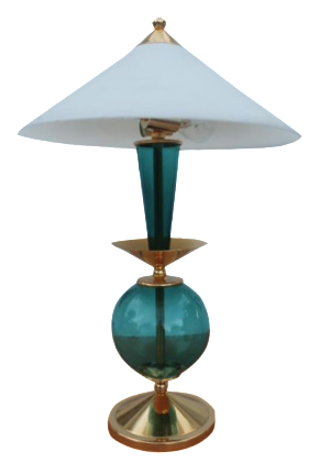 contemporary blue and brass lacquered table lamp chairish