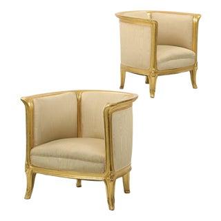 Art Nouveau Giltwood Armchairs - A Pair