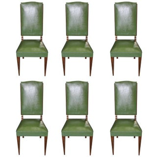 French Art Deco Leleu Style Dining Chairs - Set of 6