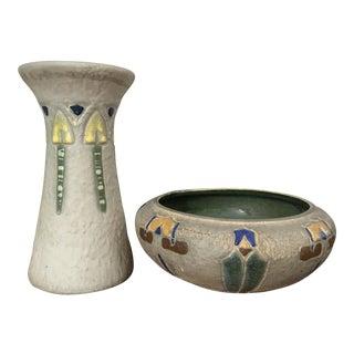 Roseville Mostique Arts & Crafts Vase & Bowl