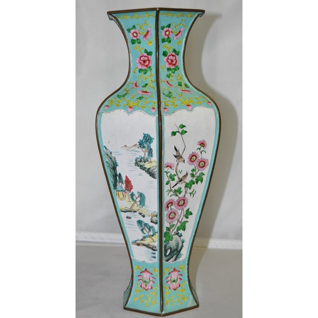 Early 20th Century Hexagonal Enameled Copper Vase - Image 4 of 6