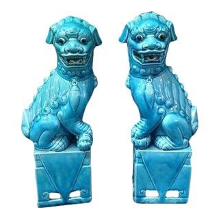 Chinese Aqua Glazed Porcelain Foo Dogs - A Pair