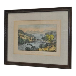 """19th Century """"The Bridge, At The Outlet"""" Lithograph by Currier & Ives"""