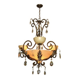 Frederick Ramond French Marble Alabaster & Crystal Chandelier