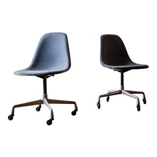 Eames Herman Miller Swivel Base Shell Chairs - A Pair
