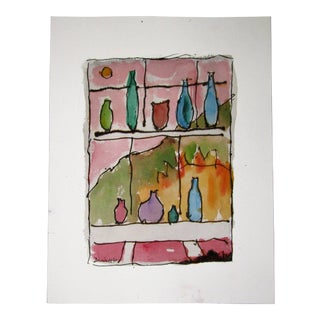 Window With Bottles in the Sunlight Signed Watercolor
