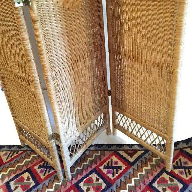 Vintage Wicker Rattan Folding Screen Room Divider - Image 5 of 7