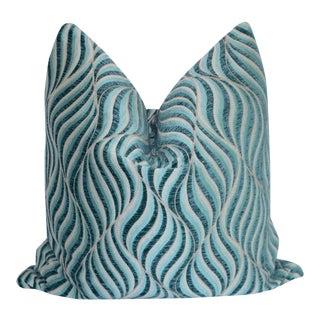 """Custom Blue Swirl Pillow Cover 22"""" X 22"""""""