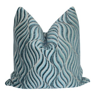 "Custom Blue Swirl Pillow Cover 22"" X 22"""