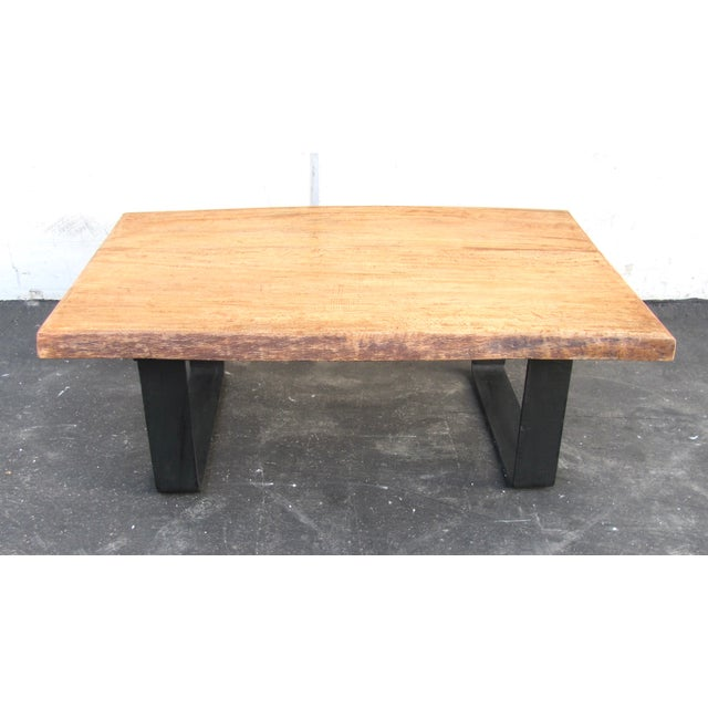 Coffee Table Minimalist Retro: Minimalist Natural Wood Slab Coffee Table