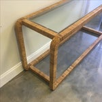 Image of Vintage Rattan Console With Glass Top