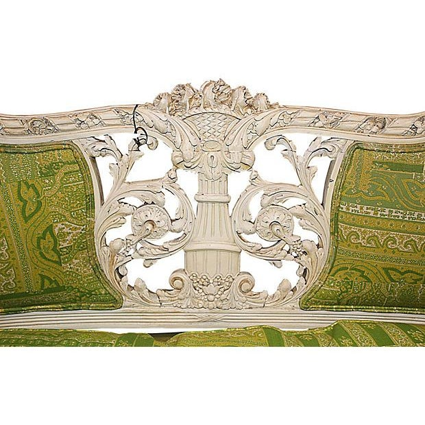 19th Century Green French Carved Loveseat - Image 5 of 8